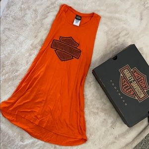 Harley Davidson women's motorcycle orange tank M